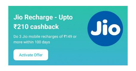 All Users) Jio Recharge – Get Upto ₹210 Paytm Cashback