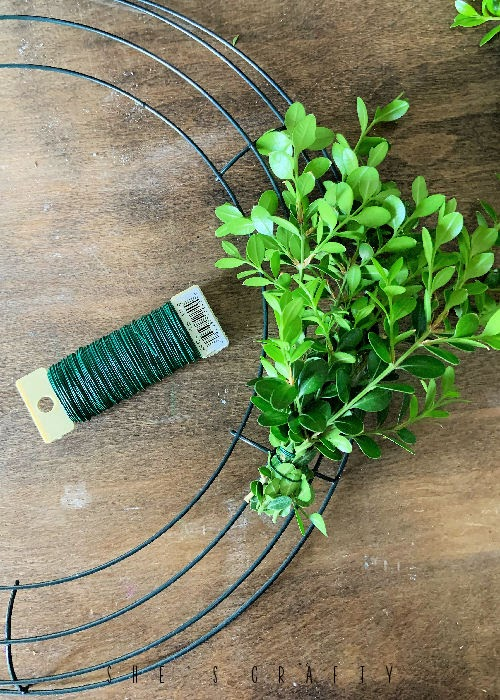 Gather bush clippings into bunches and wire together