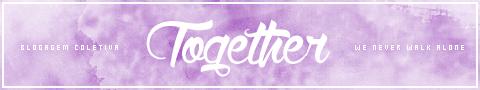 """A imagem mostra um selo roxo com os dizeres """"blogagem coletiva"""" e no centro """"together"""" que é o nome do projeto que organiza as blogagens coletivas mensais"""