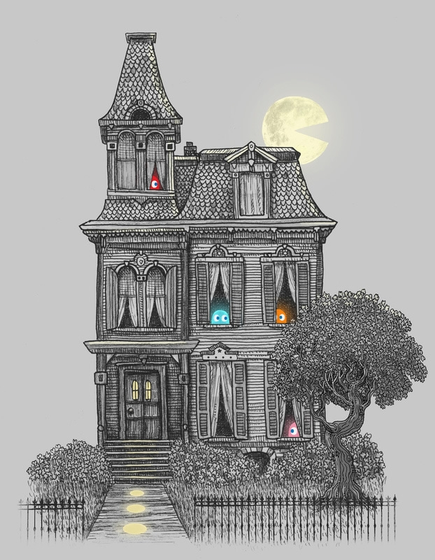 03-Pac-Man-Victorian-House-The-Fan-Brothers-Surreal-Illustrations-www-designstack-co