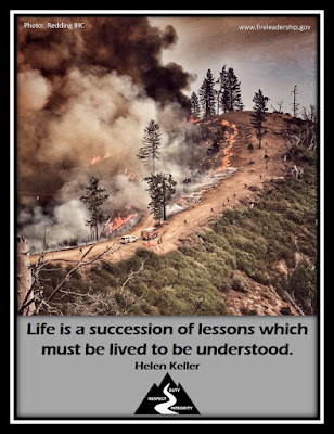 Life is a succession of lessons which must be lived to be understood. - Helen Keller [wildland firefighter crew spread up a mountain road