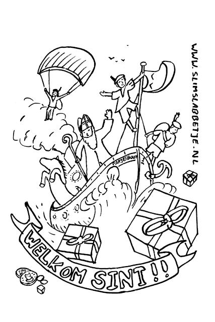 Slim Slabbetje Sinterklaas kleurplaat - De stoomboot komt er aan!