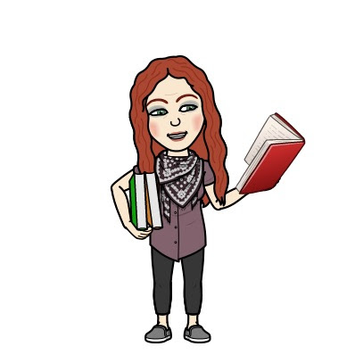 Karen Bitmoji standing with books in hand
