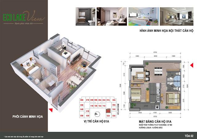 Thiết kế căn hộ 2 ngủ 1A chung cư ECO LAKE VIEW