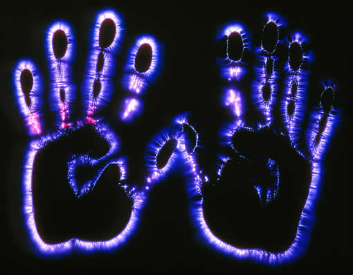 patient's hand kirlian photography