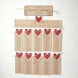 tableau mariage con cuori di carta