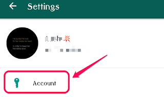 WhatsApp Screenshot denoting Account Settings