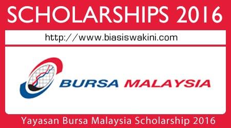 Yayasan Bursa Malaysia Scholarship 2016