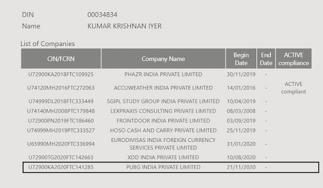 PUBG India is a registered company in India with two directors