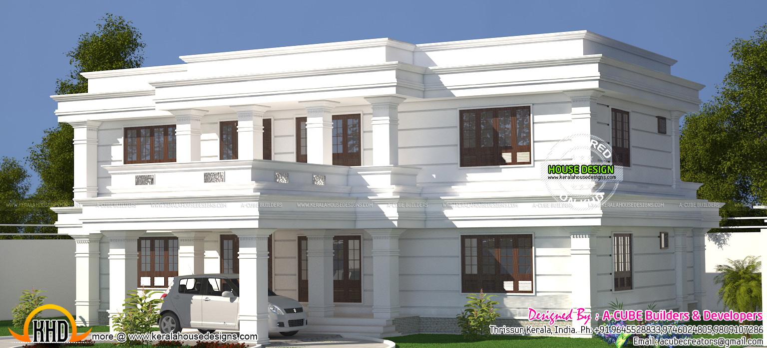 White Decorative Flat Roof Home Kerala Home Design And