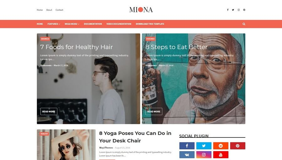 Miona - Responsive Blogger Template