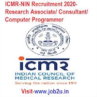 ICMR-NIN Recruitment 2020, Research Associate, Consultant, Computer Programmer