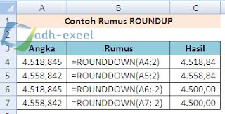 rumus Excel ROUNDDOWN