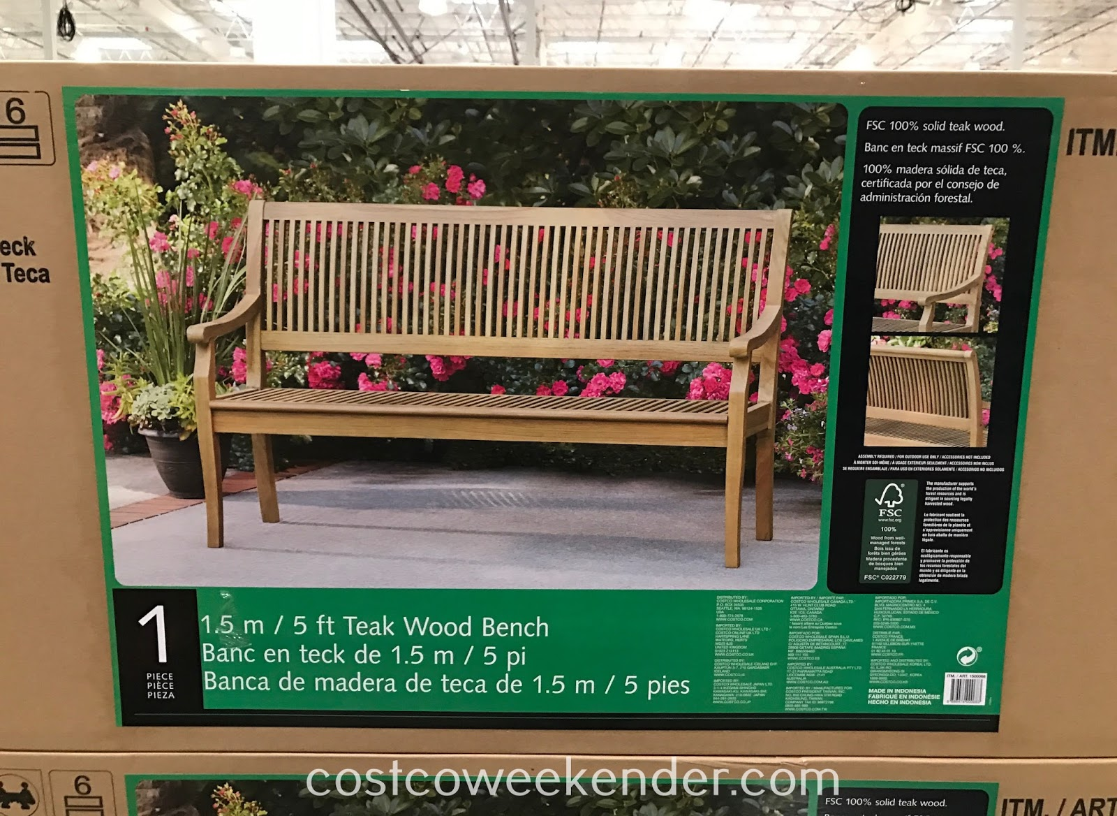 Costco 1500068 - 5-ft Teak Wood Bench: great for relaxing in a backyard or patio