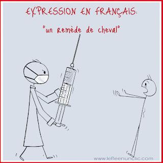 expression française, un remède de cheval, expression illustrée, FLE, le FLE en un 'clic'