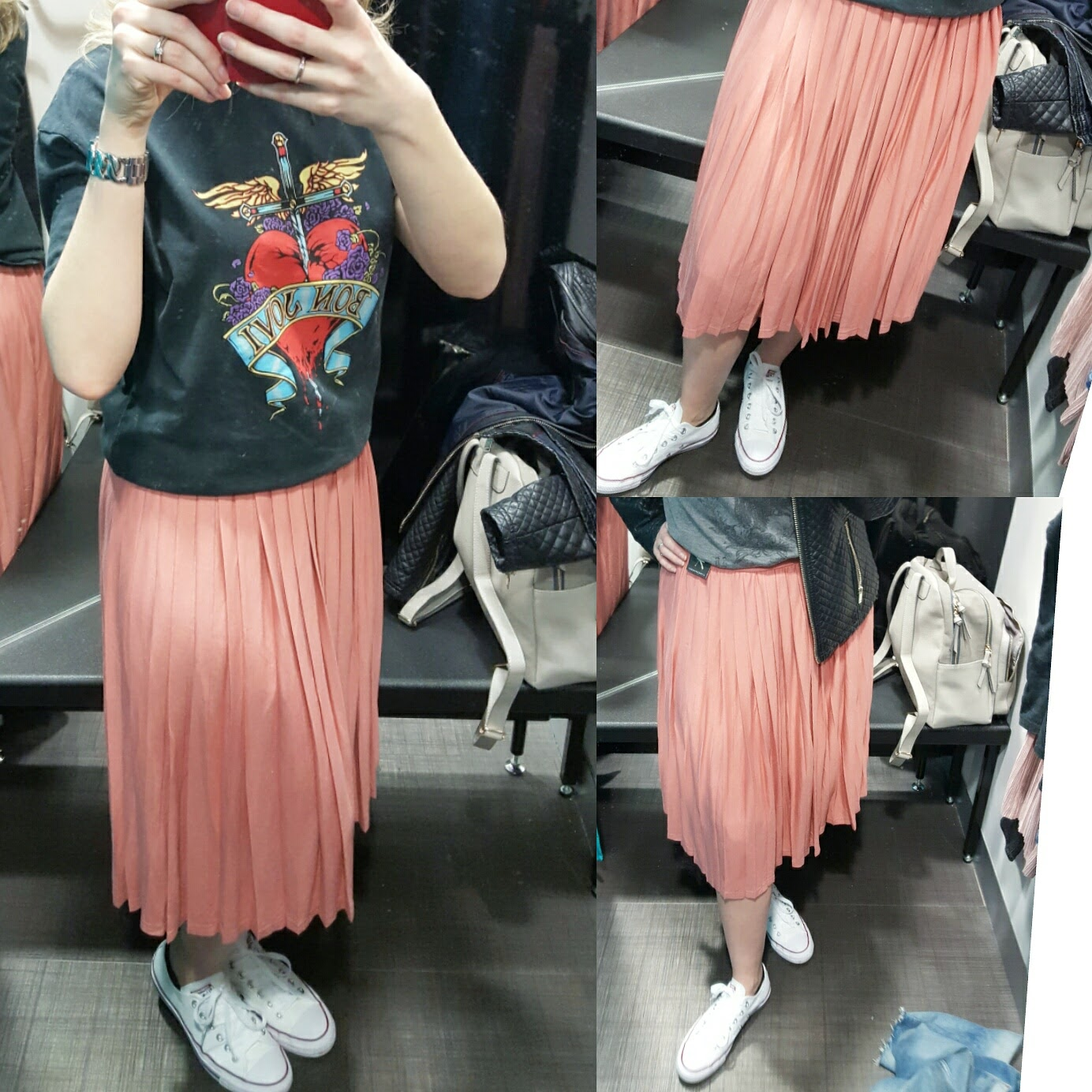 Primark BonJovi T-shirt and pleated skirt