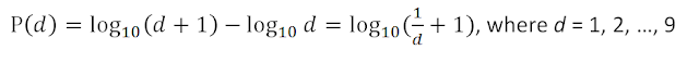 Specifically, according to the law, the significant digits follow the next logarithmic distribution: