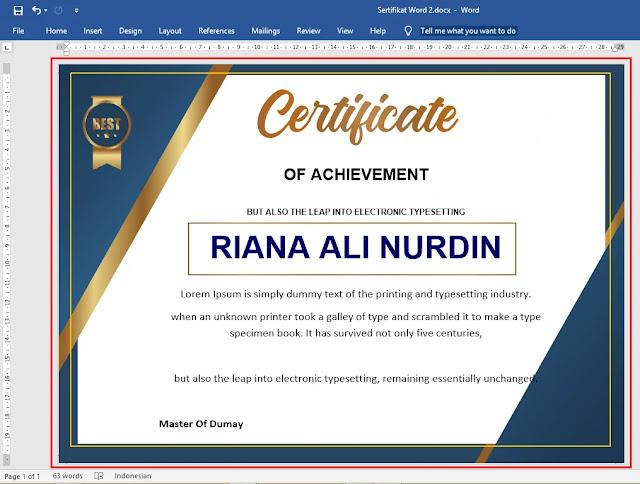 Template sertifikat word