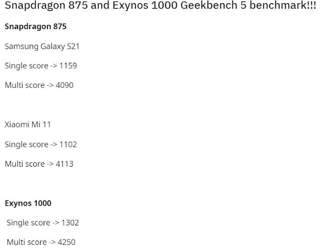 Exynos 1000 vs Snapdragon 875