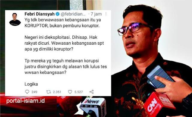 "Novel Dkk Tak Lolos Tes Wawasan Kebangsaan, Eks Jubir KPK Ngamuk: ""Yang tidak berwawasan kebangsaan itu ya KORUPTOR, bukan pemburu koruptor!"""