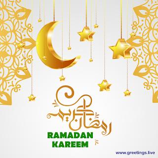 Ramadan kareem islamic greetings golden moon lanterns sparkling stars, arabic calligraphy  white background