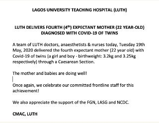 Congratulations!!!22-year-old Coronavirus Patient Gives Birth To Twins At LUTH