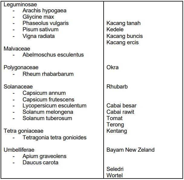 Tabel Klasifikasi Botani beberapa jenis sayuran