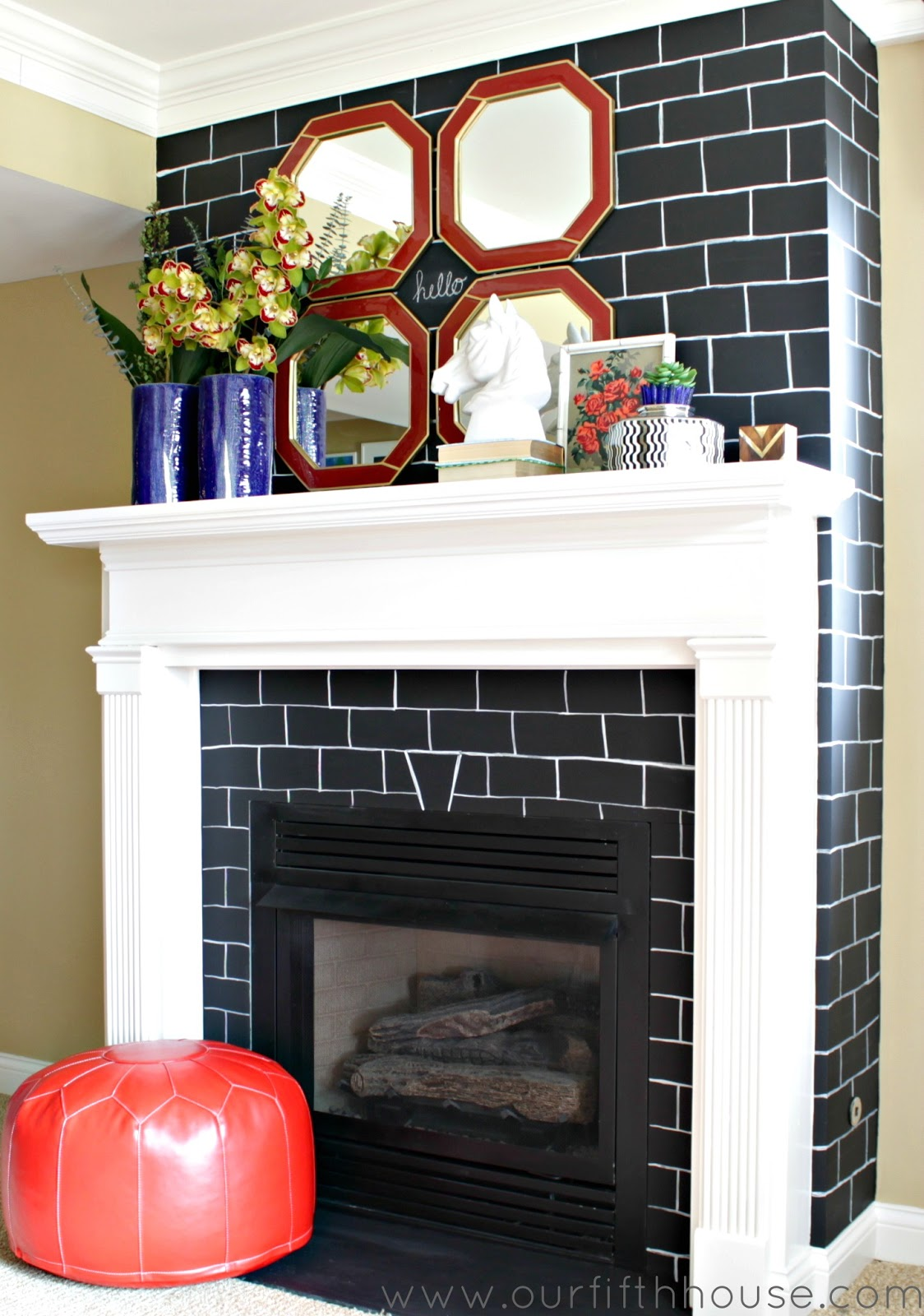 Chalkboard brick fireplace makeover our fifth house - Tile over brick fireplace ...