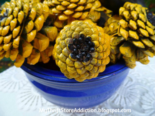 Painted pinecone sunflower bouquet