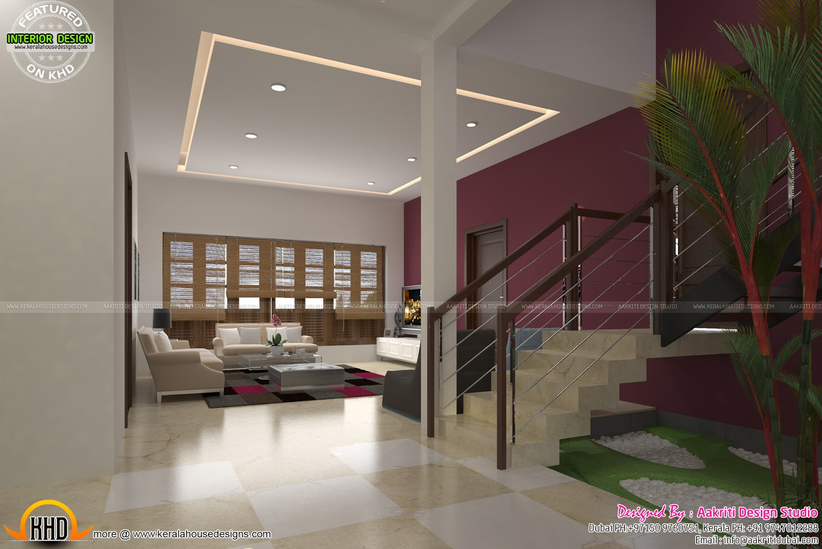 Dining Living Staircase Interior Kerala Home Design And Floor Plans