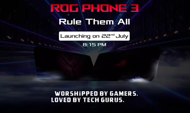 Gaming Smartphone है Rog Phone 3 इसमें क्वालकॉम स्नैपड्रेगन 865 और 8GB रैम जिसके साथ 6000 एमएएच की बैटरी इंडिया में 22 जुलाई को होगी लॉन्च।