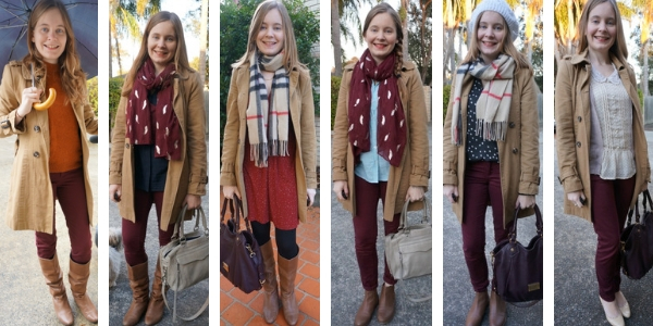 camel trench coat worn with burgundy in 6 different ways to wear | away from blue