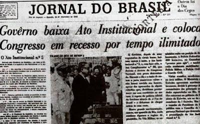 Capa do Jornal do Brasil anunciando o AI-5