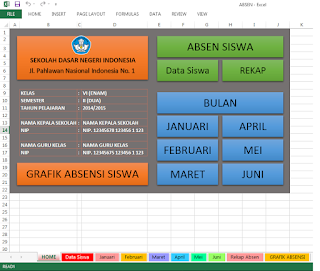 Aplikasi Absen Siswa SD dengan Excel