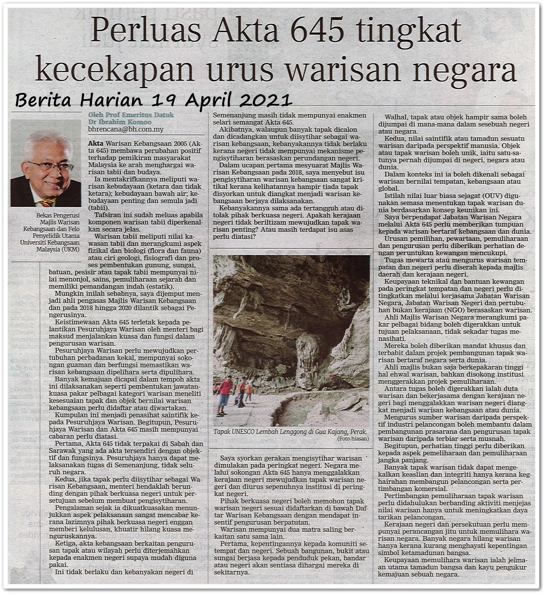 Perluas Akta 645 tingkat kecekapan urus warisan negara - Keratan akhbar Berita Harian 19 April 2021