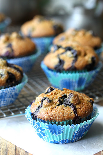 Blueberry Cornmeal Sourdough Muffins from Karen's Kitchen Stories