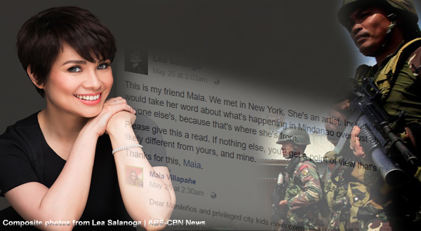 """Lea Salonga sympathizes with a Mindanaoan friend: """"I would take her word over anyone else"""""""