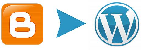 Blogger logo with arrow pointing to Wordpress logo