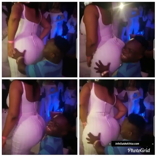 Popular Ghanaian Celebrity Dwarf Climbs Table To Rock Beautiful Lady (Photos)