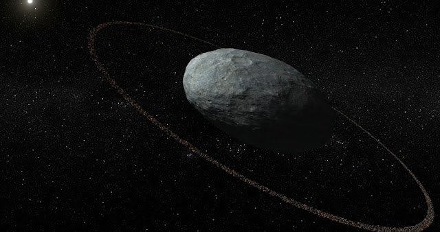 Ringed dwarf: Artistic concept of Haumea and its ring system with correct proportions for the main body and the ring. The ring is located at a distance of 2287 km with respect to the centre of the ellipsoidal main body and it is darker than the surface of Haumea. It was discovered by means of multiple telescopic observations of a stellar occultation in Europe on 21 January 2017. © IAA-CSIC/UHU