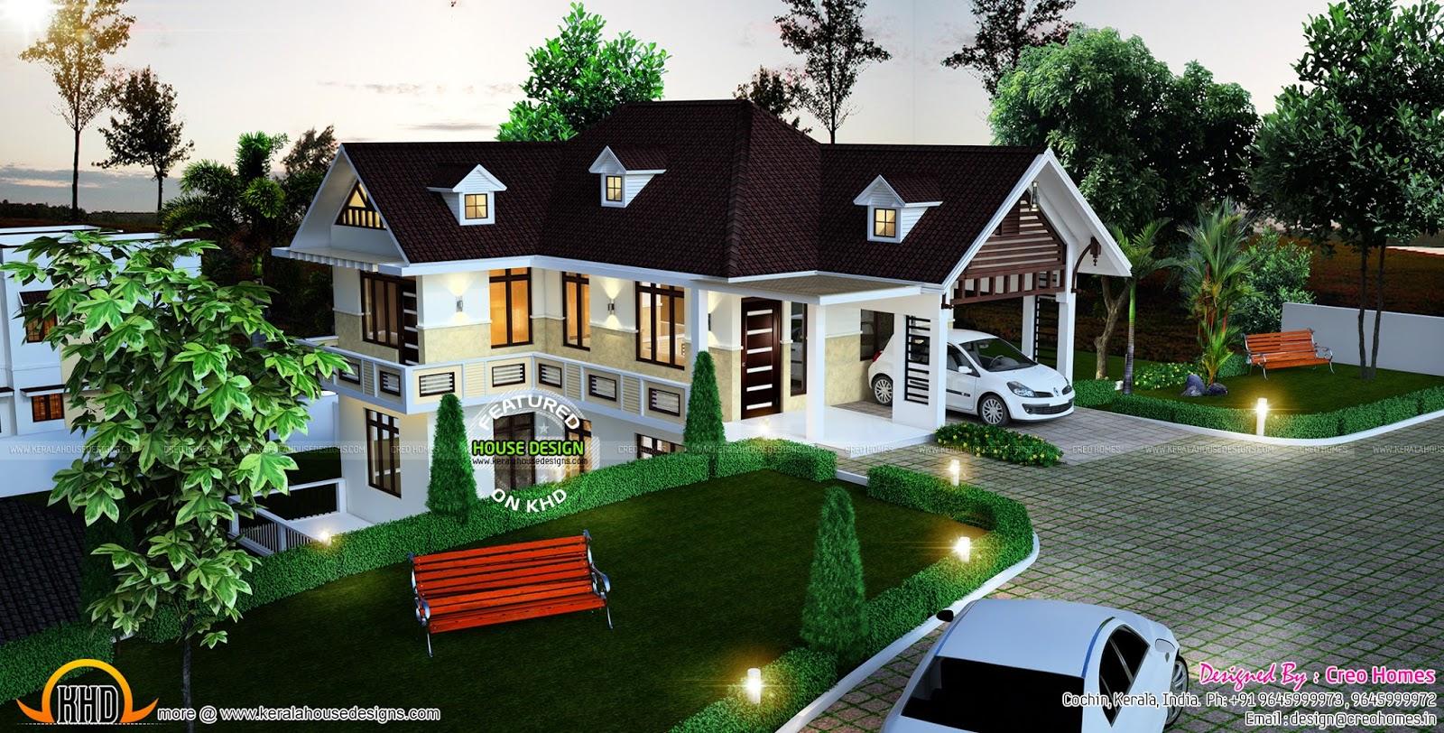 Beautiful Hillside Home Plan Kerala Home Design And