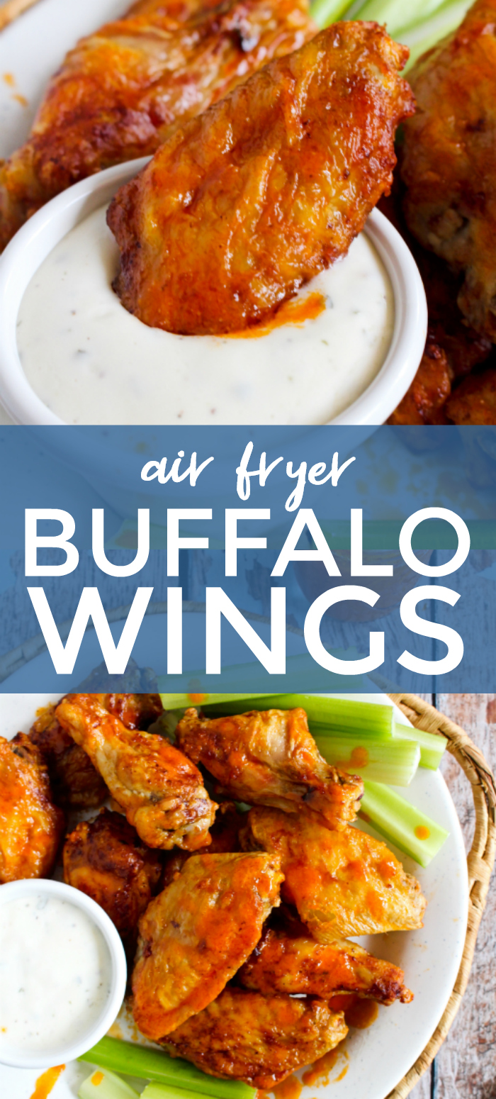 Air Fryer Buffalo Wings are air fried until super crsipy, then tossed in a spicy homemade buffalo sauce. They are the best buffalo wings ever! #airfryer #buffalowings