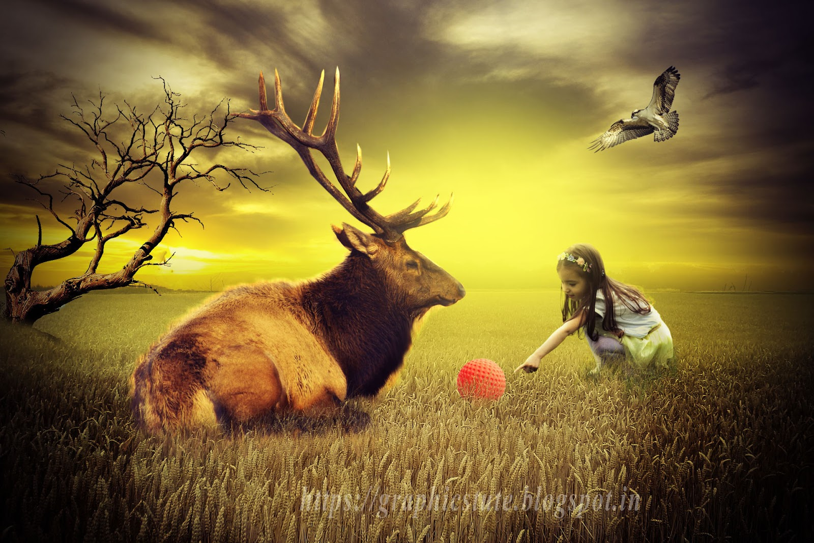Photo Manipulation Tutorial Deer And Girl In Photoshop