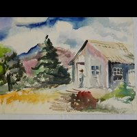Watercolor image of cabin in the mountains by Pennsylvania painter Francis Quirk