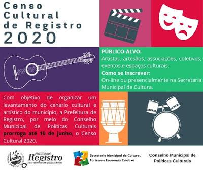 Censo Cultural de Registro 2020 é prorrogado até 10 de junho