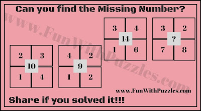 Maths Number Brain Teaser in which one has to find the missing number