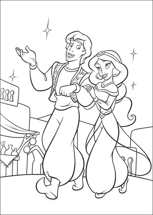 Free Coloring Pages : Aladdin Coloring Pages