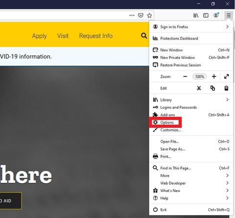 Mozilla Firefox Option Button