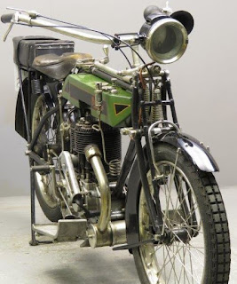 View of a 1914 British Excelsior motorcycle.