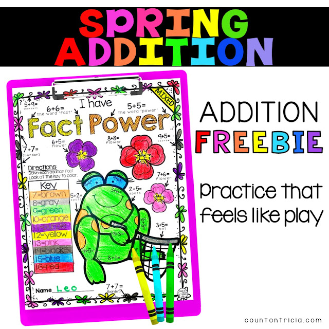 Spring Addition FREE Activity Color by Number for Kindergarten Math and First Grade Math Students